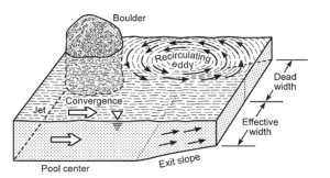 Figure 6: diagram showing how obstructions can cause flow convergence (Harrison & Keller, 2003)